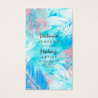 Modern watercolor tropical palm tree Makeup artist Business Card