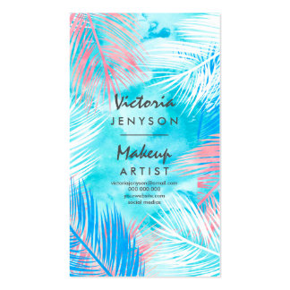 Modern watercolor tropical palm tree Makeup artist Pack Of Standard Business Cards
