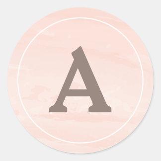 Modern Watercolor Wash | Blush Envelope Seal Round Sticker