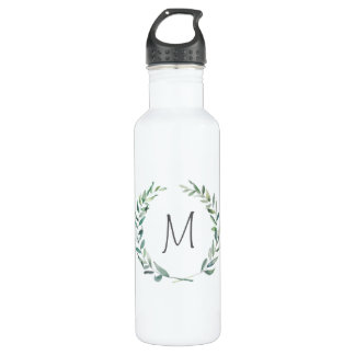 Modern Watercolor Wreath Monogram Water Bottle