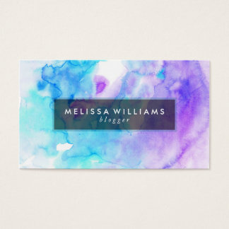 Modern Watercolors Background Purple & Blue Business Card