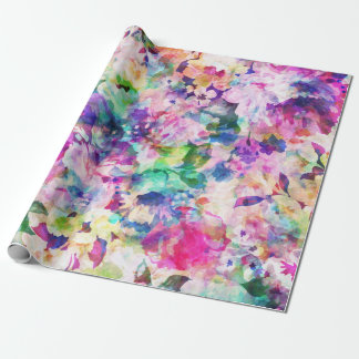 Modern Watercolors Flowers Collage Wrapping Paper