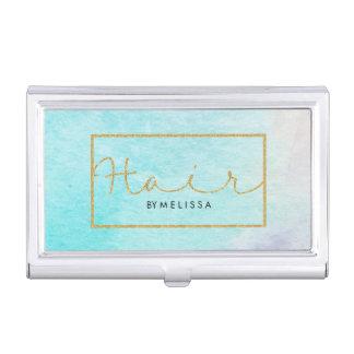Modern Watercolors Gold Glitter Frame & Text Hair Business Card Holder