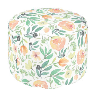 Modern Watercolors Peach & Yellow Flowers Pattern Pouf