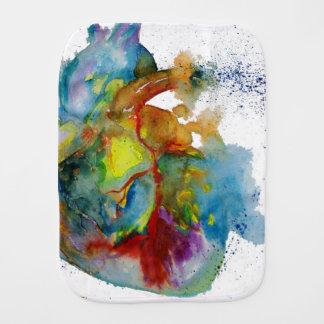Modern Watercolour Anatomical Heart Burp Cloth