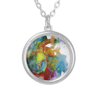 Modern Watercolour Anatomical Heart Silver Plated Necklace
