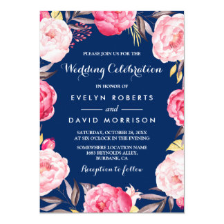 Modern Wedding Celebration Floral Wreath Navy Blue 13 Cm X 18 Cm Invitation Card