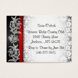 Modern Wedding Damask in White, Black and Red