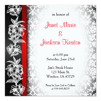 Modern Wedding Damask in White, Black and Red 13 Cm X 13 Cm Square Invitation Card