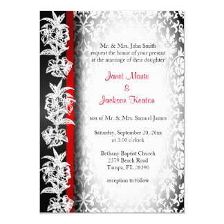 Modern Wedding Damask in White, Black and Red 13 Cm X 18 Cm Invitation Card