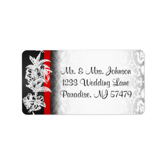 Modern Wedding Damask in White, Black and Red Address Label