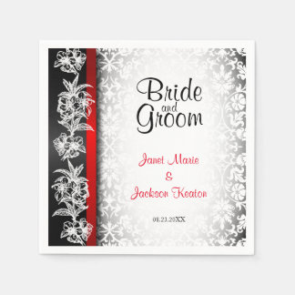 Modern Wedding Damask in White, Black and Red Paper Napkins