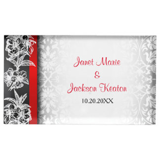 Modern Wedding Damask in White, Black and Red Table Card Holder