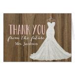 Modern Wedding Dress   Bridal Shower Thank You Note Card