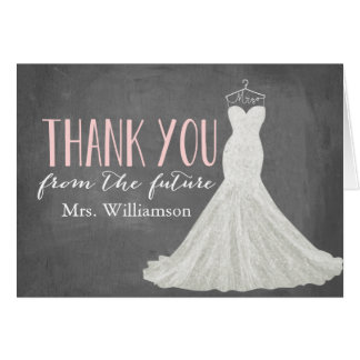 Modern Wedding Dress | Bridal Shower Thank You Note Card
