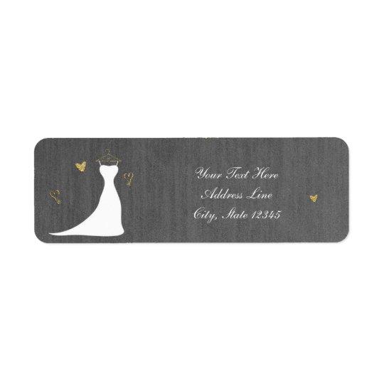 Modern Wedding Dress & Gold Hearts Bridal Shower Return Address Label