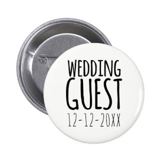 Modern Wedding Guest Pin Button with Wedding Date