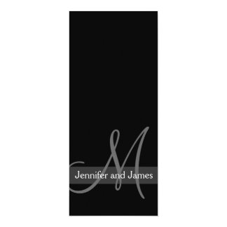 Modern Wedding Invitation Monogram Black White