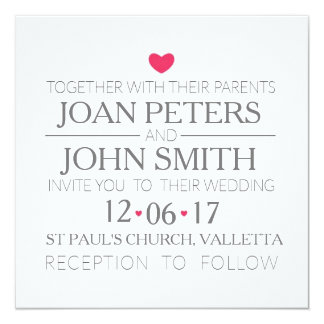 Modern wedding invitation with hearts