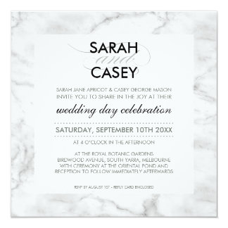 MODERN WEDDING INVITE modern mod spot black marble