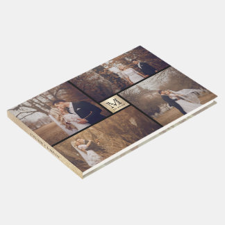 Modern Wedding Monogram 4 Photo Collage Guest Book