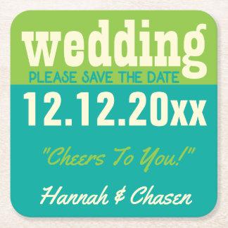 Modern Wedding Save The Date Coaster