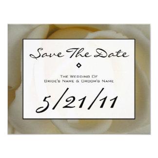 Modern Wedding Save The Date - Off White Rose 11 Cm X 14 Cm Invitation Card
