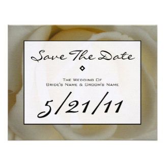 Modern Wedding Save The Date - Off White Rose Invite