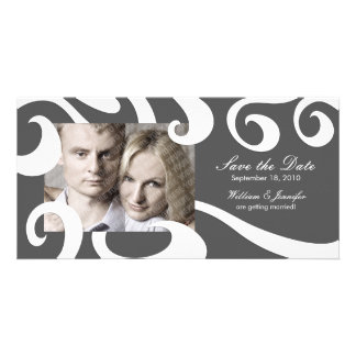 Modern Wedding Save the Date Photo Card- Dark Gray Card
