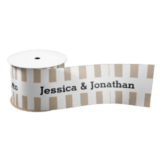 Modern Wedding Stripes White Ribbon A01 Satin Ribbon