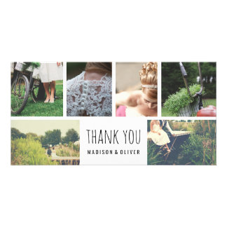 Modern Wedding Thank You Six Photo Collage Photo Cards