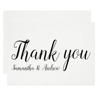 Modern wedding thank you typography black white card