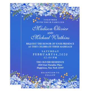 Modern Wedding Watercolor Floral Invitation Card