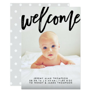 Modern Welcome Script | Photo Birth Announcement