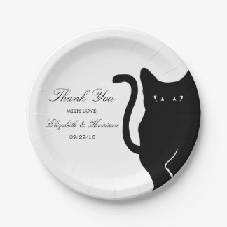 Modern Whimsical Black Cat Wedding 7 Inch Paper Plate