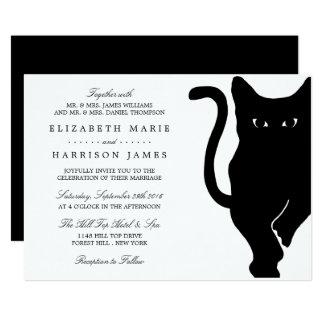 Modern Whimsical Black Cat Wedding Card