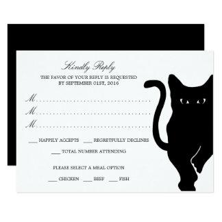 Modern Whimsical Black Cat Wedding RSVP Card