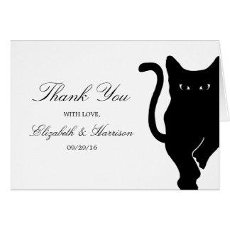 Modern Whimsical Black Cat Wedding Thank You Card