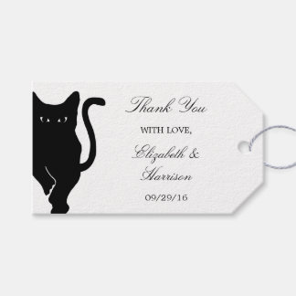 Modern Whimsical Black Cat Wedding Thank You Favor Gift Tags