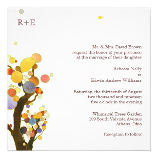 Modern Whimsical Trees White Formal Wedding Personalized Invites