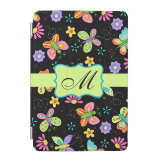 Modern Whimsy Butterflies Black Monogram iPad Mini Cover