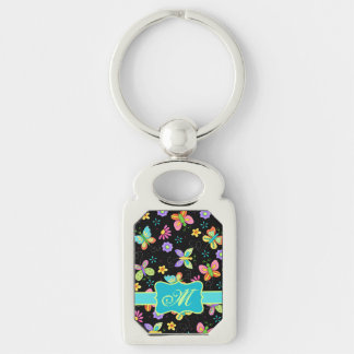Modern Whimsy Butterflies on Black Monogram Silver-Colored Rectangle Key Ring