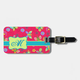 Modern Whimsy Butterflies on Red Monogram Personal Luggage Tag
