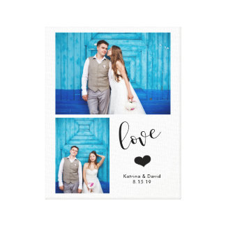 Modern Whimsy | Two Photo Wedding Canvas Print