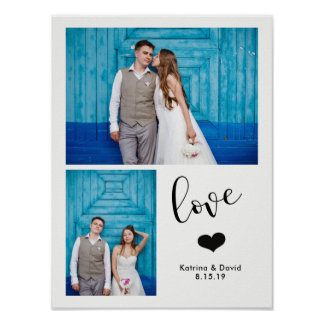 Modern Whimsy | Two Photo Wedding Poster