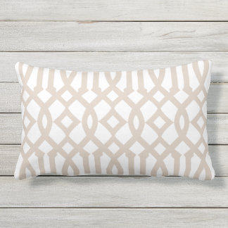 Modern White and Beige Imperial Trellis Lumbar Cushion