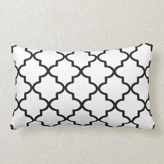 Modern White and Black Moroccan Quatrefoil Lumbar Cushion