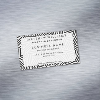 Modern White and Black Stripes Collage Pattern Magnetic Business Card