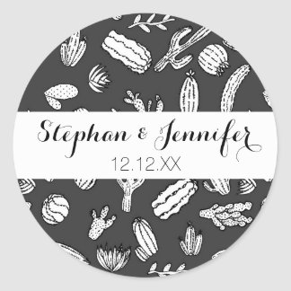 Modern White and Black Succulent Cactus  Pattern Classic Round Sticker
