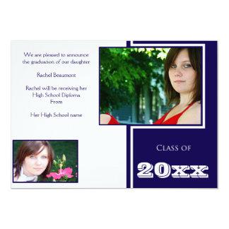 Modern White and Blue Graduation Card